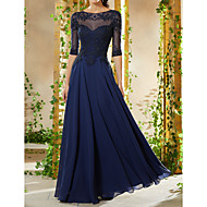 A-Line Jewel Neck Floor Length Chiffon Formal Evening Dress with Beading / Appliques by LAN TING Express