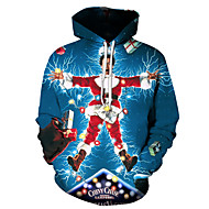 Men's Plus Size Street chic / Christmas Hoodie - 3D / Portrait Hooded Blue US32 / UK32 / EU40