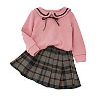 Børn Pige Basale Ternet Langærmet Tøjsæt Lyserød