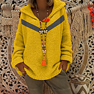 Women's Solid Colored Long Sleeve Pullover Sweater Jumper, Hooded Yellow / Red / Gray S / M / L