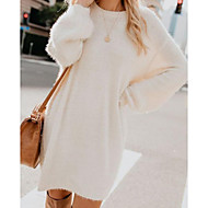 Women's Daily Wear Street chic Elegant Sweater Dress - Solid Colored Pleated Black Light Blue White S M L XL
