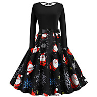 Women's Christmas Party Festival Vintage Basic Swing Dress - Geometric Santa Claus, Patchwork Print Black S M L XL