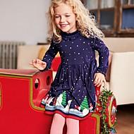 preiswerte -Kinder Mädchen Punkt Weihnachten Kleid Marineblau