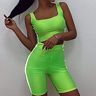 Women's High Rise Yoga Suit Solid Color Running Fitness Gym Workout Shorts Crop Top Clothing Suit Sleeveless Activewear Breathable Moisture Wicking Quick Dry Butt Lift Stretchy Slim