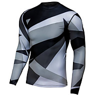 Men's Long Sleeve Cycling Jersey Downhill Jersey Dirt Bike Jersey Grey Geometic Bike Jersey Motorcyle Clothing Top Mountain Bike MTB Road Bike Cycling Thermal / Warm Windproof Breathable Sports Winter