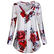 Per donna Taglie forti Fantasia floreale T-shirt Quotidiano A V Bianco / Nero / Blu / Verde / Verde chiaro