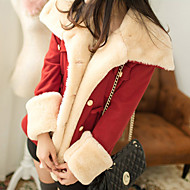 Women's Daily Basic Winter Short Coat, Solid Colored Hooded Long Sleeve Faux Fur Fur Trim Red / Camel / Navy Blue