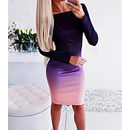 Women's Daily Basic Bodycon Dress - Color Block Purple S L XL