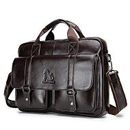 Men's Zipper Cowhide Top Handle Bag Solid Color Black / Coffee