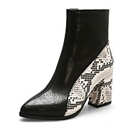 Women's Boots Print Shoes Chunky Heel Pointed Toe PU Booties / Ankle Boots Classic / Casual Winter Black / White / Gray / Color Block