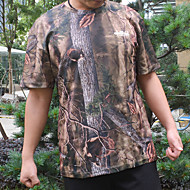 Men's Hunting T-shirt Outdoor Breathable Quick Dry Soft Wear Resistance Spring Summer Fall Camo / Camouflage Top Terylene Short Sleeve Camping / Hiking Hunting Climbing Brown Grey / Winter / Winter