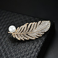 Women's Brooches 3D Feather Fashion Imitation Pearl Gold Plated Brooch Jewelry Gold For Christmas Party Festival