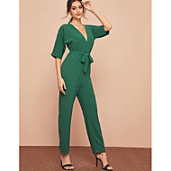 Women's Street chic / Sophisticated Green Jumpsuit, Solid Colored Patchwork / Drawstring S M L