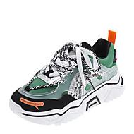 ราคาถูก -สำหรับผู้หญิง รองเท้ากีฬา ส้นแบน ปลายกลม เย็บลูกไม้ PU ไม่เป็นทางการ วสำหรับเดิน ฤดูใบไม้ร่วง & ฤดูหนาว สีดำ / สีเหลือง / สีเขียว