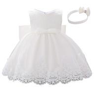 Dítě Dívčí Aktivní Barevné bloky Mašle / Vícevrstvé / Plisé Bez rukávů Délka ke kolenům Šaty Bílá