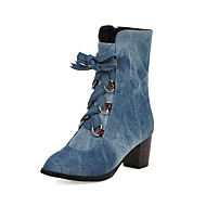 Women's Boots Chunky Heel Round Toe Suede / Denim Mid-Calf Boots Preppy Spring &  Fall / Fall & Winter Light Blue / Purple / Dark Blue / Party & Evening