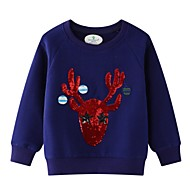 Kids Girls' Basic Print Christmas Long Sleeve Cotton Hoodie & Sweatshirt Blue
