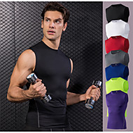 cheap -YUERLIAN Men's Compression Tank Top Athletic Elastane Quick Dry Stretchy Sweat-wicking Gym Workout Exercise & Fitness Basketball Running Sportswear Solid Colored Base Layer Neon Green White Black