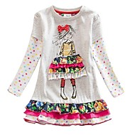 Kids Girls' Cute Color Block Cartoon Dress White