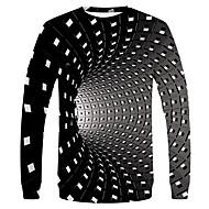 preiswerte -Herrn Punkt / Hahnentrittmuster / Solide - Grundlegend / Street Schick EU- / US-Größe T-shirt, Rundhalsausschnitt Schwarz / Langarm