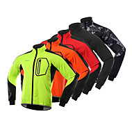 BERGRISAR Men's Cycling Jacket Bike Winter Fleece Jacket Reflective Strips Sports Fleece Spandex Winter Black / Orange / Green Mountain Bike MTB Clothing Apparel Regular Fit Bike Wear / Micro-elastic