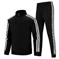 Men's 2pcs Side-Stripe Full Zip Cotton Tracksuit Sweatsuit Winter Mandarin Collar Running Fitness Gym Workout Sports Plus Size Thermal / Warm Breathable Clothing Suit Long Sleeve Activewear High