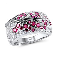 Women's Ring 1pc Light Green Red Platinum Plated Alloy Daily Jewelry Cute