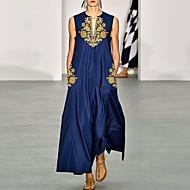 Women's Elegant A Line Dress - Floral Navy Blue S M L XL