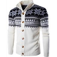 Men's Geometric Long Sleeve Cardigan Sweater Jumper, Round Neck Black / White / Dark Gray US32 / UK32 / EU40 / US34 / UK34 / EU42 / US36 / UK36 / EU44