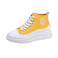 Women's Sneakers Creepers Round Toe Canvas Classic / Sweet Spring &  Fall Black / Yellow / Green / Slogan