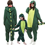 voordelige -Kinderen Volwassenen Kigurumi pyjamas Dinosaurus Monsters Onesie pyjamas Katoenflanel Donkergroen / Rood Cosplay Voor Mannen & Vrouwen Dieren nachtkleding spotprent Festival / Feestdagen kostuums