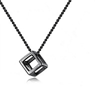 Men's Pendant Necklace Geometrical Flower Fashion Chrome Black Silver 55+5 cm Necklace Jewelry 1pc For Gift Daily