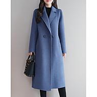 preiswerte -Damen Alltag Lang Mantel, Solide Steigendes Revers Langarm Polyester Schwarz / Königsblau / Rote