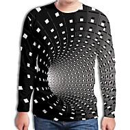preiswerte -Herrn Geometrisch / 3D - Street Schick / Übertrieben Übergrössen T-shirt, Rundhalsausschnitt Gefaltet / Druck Schwarz / Langarm