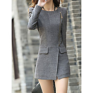 Women's Going out / Work Street chic Fall & Winter Long Coat, Solid Colored Round Neck Long Sleeve Cotton / Polyester / Spandex Patchwork Black / Gray