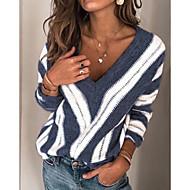 preiswerte -Damen Gestreift Langarm Übergrössen Pullover Pullover Jumper, V-Ausschnitt Winter Wein / Purpur / Blau S / M / L
