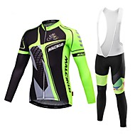 Malciklo Men's Long Sleeve Cycling Jersey with Bib Tights Winter Fleece Coolmax® Lycra Orange Yellow Green British Bike Jersey Bib Tights Clothing Suit Breathable 3D Pad Quick Dry Back Pocket Sports