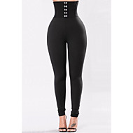 Women's Basic Legging - Solid Colored, Ruched High Waist Black S M L