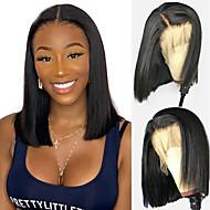Aidot hiukset 4x13 päättäminen Peruukki Bob-leikkaus Lyhyt Bob Syvä hajoaminen tyyli Brasilialainen Luonnollinen suora Luonnollinen Peruukki 130% Hiusten tiheys ja vauvan hiukset Luonnollinen