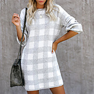 Women's Going out Weekend Street chic Tunic - Check Black & White, Patchwork Black