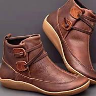povoljno -Žene Čizme Udobne cipele Ravna potpetica Okrugli Toe PU Čizme gležnjače / do gležnja Jesen zima Braon / Crvena / Plava