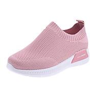 ราคาถูก -สำหรับผู้หญิง รองเท้ากีฬา ส้นแบน ปลายกลม หนังเทียม สำหรับวิ่ง ฤดูใบไม้ร่วง & ฤดูหนาว สีดำ / ขาว / สีชมพู