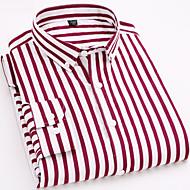 Men's Striped Shirt Print Long Sleeve Work Slim Tops Business Basic Spread Collar Blue Dark Red / Spring / Fall