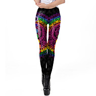 Women's Dailywear / Yoga Sporty / Basic Legging - Geometric, Print Mid Waist Rainbow S M L