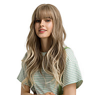 Synthetic Wig Bangs Curly Body Wave Side Part Neat Bang With Bangs Wig Ombre Very Long Light Brown Synthetic Hair 24 inch Women's Cosplay Women Synthetic Light Brown Ombre HAIR CUBE / Ombre Hair