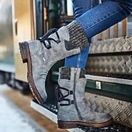 povoljno -Žene Čizme Udobne cipele Ravna potpetica Okrugli Toe PU Čizme do pola lista Jesen zima purpurna boja / Bijela / Plava