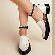 저렴한 -여성용 플랫 블록 힐 뾰족한 발가락 PU 빈티지 / 캐쥬얼 모든계절 & 가을 / 봄 여름 블랙 / 화이트 / 파티 / 이브닝