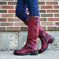 Women's Boots Block Heel Round Toe Buckle PU Mid-Calf Boots Vintage / Casual Spring &  Fall / Fall & Winter Black / Brown / Red