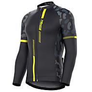 povoljno -21Grams Muškarci Dugih rukava Biciklistička majica Crn žuta Vojska Green Kolaž kamuflaža Bicikl Biciklistička majica Majice Brdski biciklizam biciklom na cesti Ugrijati UV otporan Prozračnost Sportski