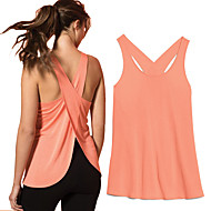 cheap -Women's Open Back Cross Back Running Tank Top Long Sleeve Lightweight Breathable Quick Dry Yoga Fitness Gym Workout Running Sportswear Solid Colored Top Coral White Black Purple Activewear High